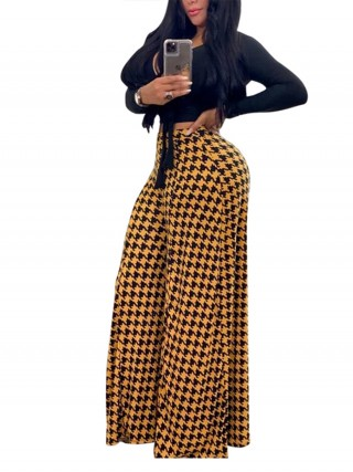 Seductive Yellow High Rise Full Length Wide Leg Pants Stretch