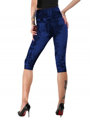 Stretch Deep Blue High Waist Plus Size Cropped Trousers Weekend Fashion