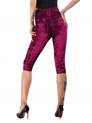 Slimming Red Plus Size Imitation Denim 3/4 Leggings On-Trend Fashion