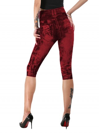 Multi-Function Wine Red Denim Printing 3/4 Leggings Queen Size Online Fashion