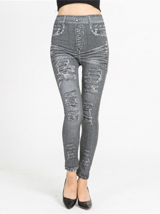 Sexy Ladies Imitation Denim Leggings Queen Size Best Materials