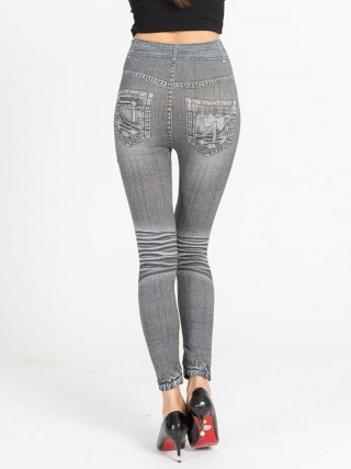 Delightful Fake Jeans Plus Size High Rise Leggings Comfort Fit