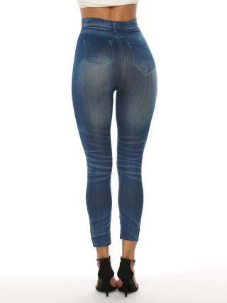 Splendid Fake Denim Print 7/8 Length Leggings Newest Fashion