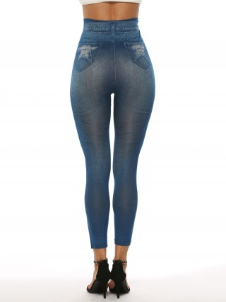 Luscious Curvy Fake Ripped Printed High Rise Legging Shop Online