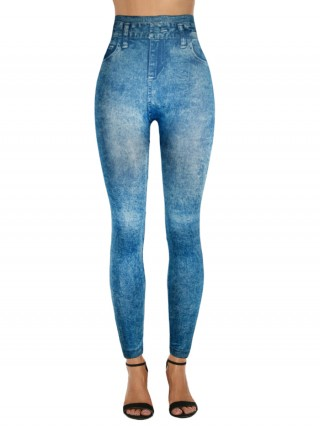 Splendid False Pockets Leggings Denim Printed Women Outfit