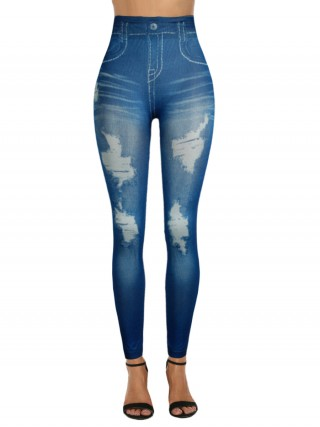 Dramatic Denim Ripped Paint 7/8 Length Legging Sexy Ladies