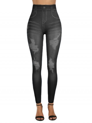 Excellent Legging 7/8 Length Printed Fake Denim Forward Women