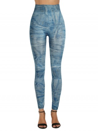 Absorbing 3D Denim Printed Leggings High Waist Wholesale Online