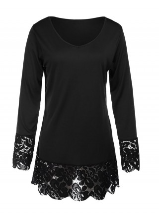 Eye Catching Black Tops Long Sleeve Lace Trim V-Neck
