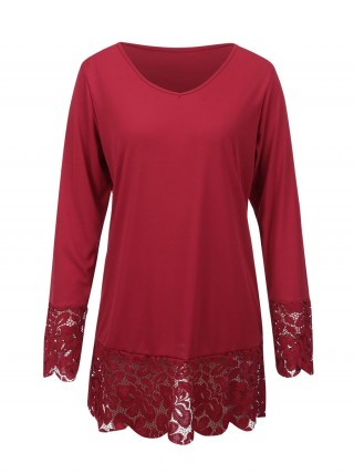 Seductive Wine Red Lace Splice Shirt V Neck Full Sleeve