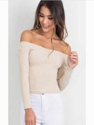 Bewildering Creamy-White Full Sleeve Top Threaded Solid Color
