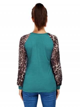 Dazzling Green Leopard Patchwork Shirt Large Size Form Fitting
