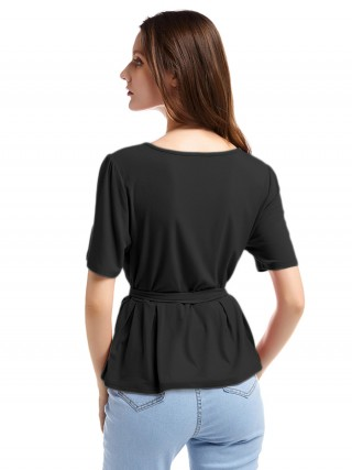 Vivifying Black Round Neck Short Sleeve Top Ruffle Demure