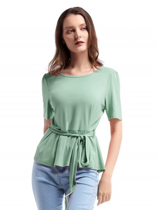 Trendy Green Ruffled Round Collar Top Waist Tie Glamorous Look