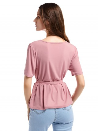 Eye Catching Pink Round Neck Belt Shirt Short Sleeve