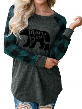 Splendid Green Crew Neck Plaid Pattern Shirt Understated Design