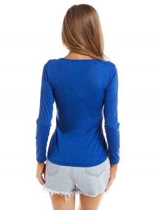 Flattering Blue Crisscross Shirt Plain Full Sleeve Comfort