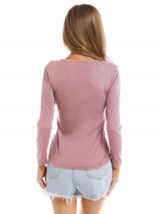 Sunkissed Pink Round Neck Plain Shirt Long Sleeves For Lounging