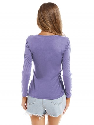 Exotic Paradise Purple Pure Color Shirt Long Sleeve Lace-Up