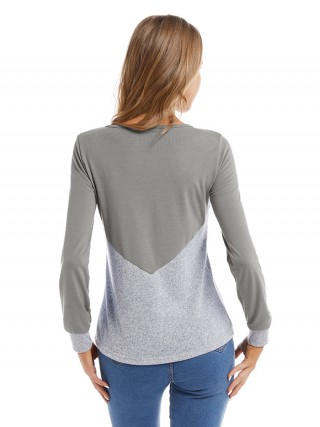 Classical Gray Big Size Shirt Colorblock Round Neck Fashion