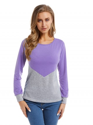Fad Purple Big Size Shirt Colorblock Crewneck Female Charming