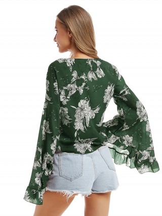 Eye Catching Green Floral Print Chiffon Top V Collar For Ladies