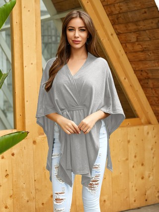 Shop Gray Knit Shirt Solid Color V Collar Fashion Sale