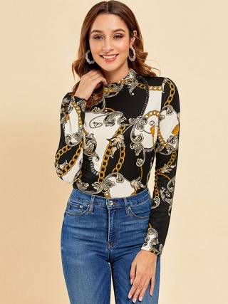 Retro Mockneck Top Chain Print Full Sleeve Splendid Look