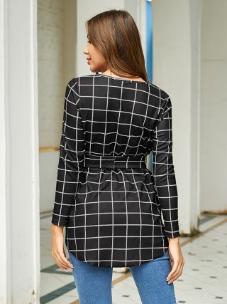 Classy Black Plaid Pattern Long Sleeves Shirt Slim Fit