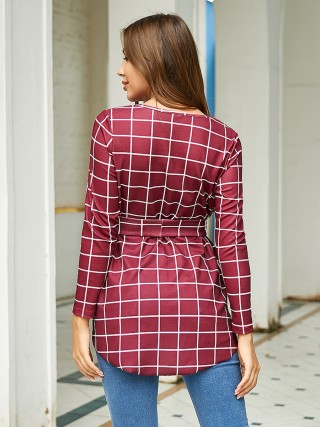 Dazzles Wine Red Full Sleeve Plaid Top Dovetail Hem Comfort