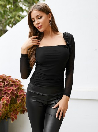 Fetching Black Shirt Square Neck Sheer Mesh Trendy Clothes