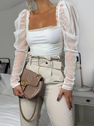Lovely White Puff Sleeve Shirt Open Back Feminine Fashion Trend