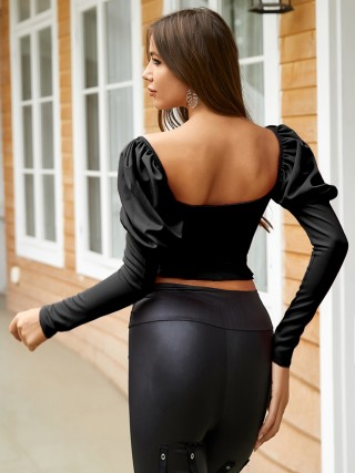 Gorgeous Black Ruffle Shirt Solid Color Long Sleeve For Playing