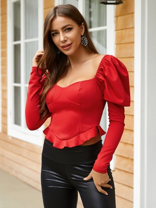 Innovative Red Puff Sleeves Sweetheart Neck Shirt For Lounging