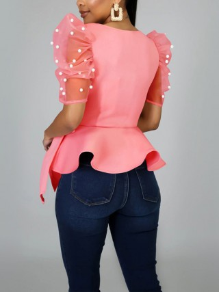 Dreamlike Pink Bowknot Shirt Sheer Mesh Pearl Design Women Outfits