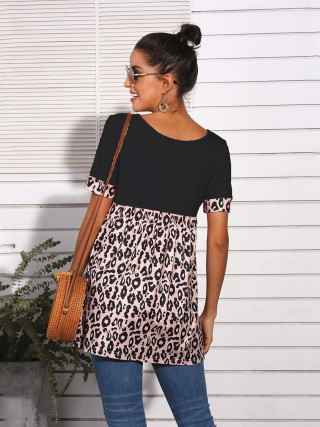 Cutie Black Leopard Splice Top V-Neck Short Sleeve Ladies Fashion