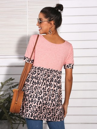 Cozy Pink Pleated Leopard Patchwork Top V-Neck Great Quality