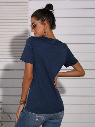 Inviting Blue Hollow Twist Knot T-Shirt Colorblock Chic
