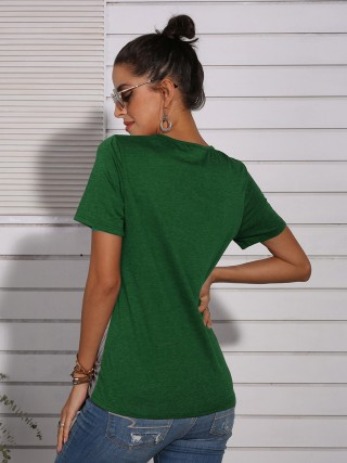Holiday Green Straps Neckline Leopard Splice T-Shirt Online