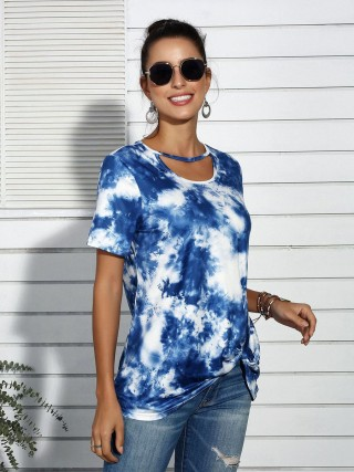 Unique Deep Blue T-Shirt Tie Dye Print Short Sleeves Breathable
