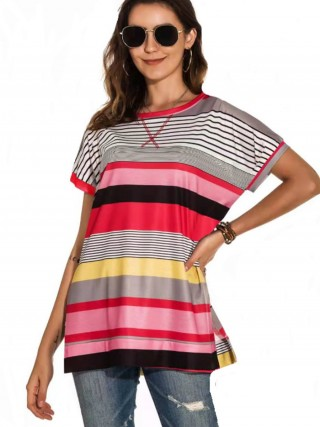 Appealing Red Side Slit Stripe Pattern T-Shirt Heartbreaker