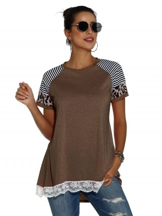 Fashionable Coffee Color T-Shirt Round Collar Stripe Print