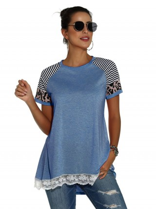 Minimalist Blue High-Low Hem T-Shirt Leopard Pattern Supper Fashion