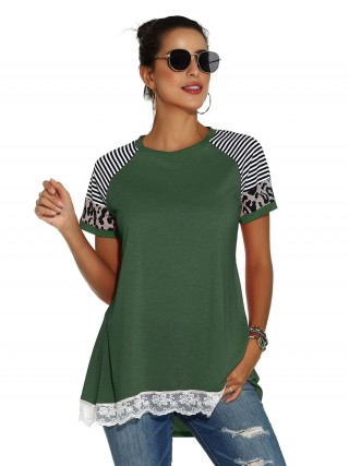 Surprising Green Patchwork Short Sleeve Crew Neck Shirt For Strolling