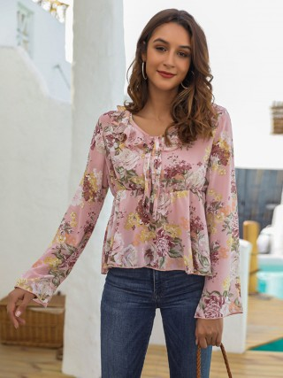 Kinetic Floral Print Shirt Chiffon V-Neck For Hanging Out