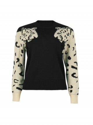 Exotic Black Leopard Head Print Sweater Long Sleeve Women's Fashion