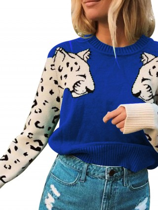Sweety Blue Colorblock Sweater Full Sleeves Knit Latest Fashion
