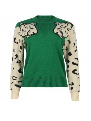 Impeccable Green Patchwork Round Collar Knitted Sweater Feminine Curve