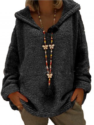 Awesome Black Queen Size Sweater Hooded Collar Versatile Item