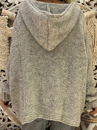 Pleasant Gray Loose Sweater Full Sleeve Large Size For Girls